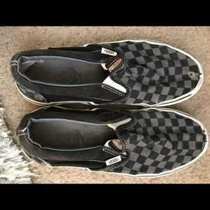 Black and Gray Checkered Vans